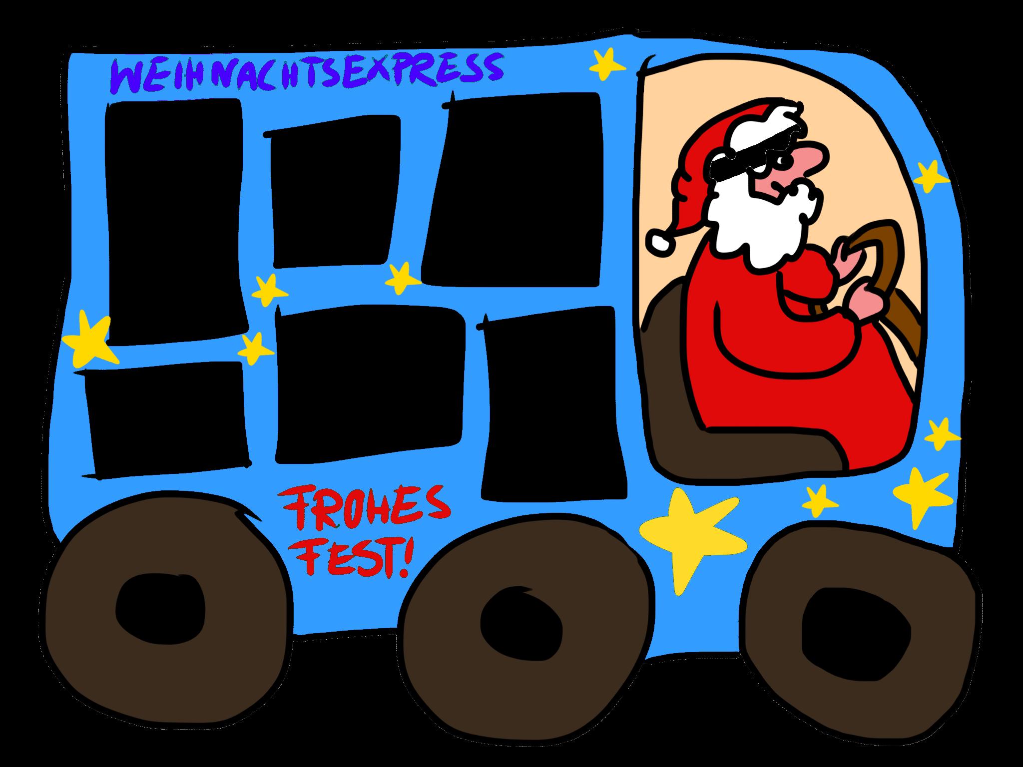 Weihnachtsexpress Weihnachtsmann im Auto